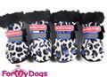 """ForMyDogs Ботиночки зимние для собак из дубленочки """"Лео"""" синий, размер №0"""