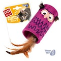 GiGwi Игрушка для кошек Сова цилиндр дразнилка с хвостиком на резинке со звуковым чипом 22см