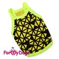 ForMyDogs Майка для собак мелких пород из трикотажа, желто/черная размер №14, №16