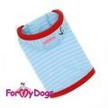 ForMyDogs Майка для собак мелких пород голубая в полоску из трикотажа с капюшоном, размер №8, №10