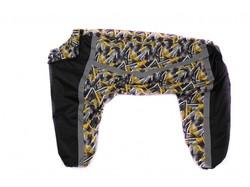 ZooAvtoritet Дождевик для крупных собак, черный/желтый, размер 6XL, спина 62-67см