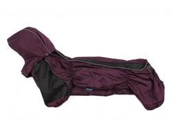ZooPrestige Дождевик для таксы, фиолетовый/черный, размер ТБ1, спина 50см