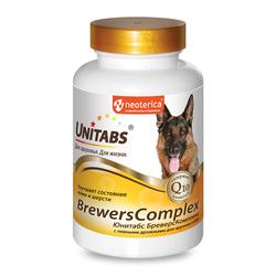 Unitabs BreversComplex с Q10 Витамины для собак крупных пород с пивными дрожжами 100таб
