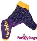 ForMyDogs Дождевик для крупных собак из водоотталкивающего полиэстра, фиолетовый/желтый модель для девочек, размер D1