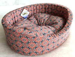 Бобровый дворик Лежак для собак и кошек овальный с бортиком Султан красный