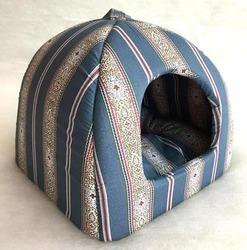 Бобровый дворик Домик лежак для кошек и маленьких собак Полоска синяя