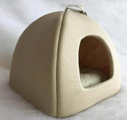 Бобровый дворик Домик лежак для кошек и маленьких собак бежевый Вязка №2, 42*42*38см