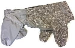 ZooTrend Дождевик для крупных пород собак, серый тетрис, размер 7XL, спина 80см