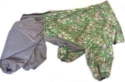 ZooTrend Дождевик для крупных пород собак, серый/зеленый тетрис, размер 7XL, спина 80см