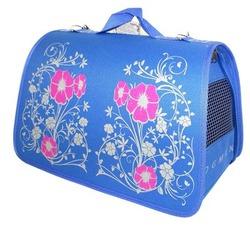 DOGMAN Сумка -переноска для маленьких собак Лира №3 голубая с цветами, 44х27х27см