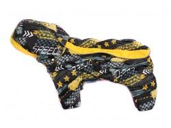 ZooAvtoritet Комбинезон для собак Дутик, серый/желтый, флис Мембрана, размер L, спина 32-36см