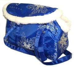 DOGMAN Сумка -переноска модельная, теплая с мехом №8М, голубая, 39х19х24см.
