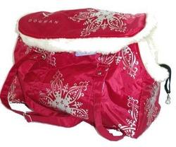 DOGMAN Сумка для собак, теплая с мехом №8М, красная, 39х19х24см