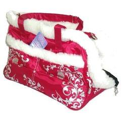 DOGMAN Сумка -переноска для собак модельная №5М с мехом, красная, 40х17,5х22,5см