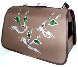 DOGMAN Сумка -переноска для кошек Лира №2 Кошки, коричневая, размер 39х25х26