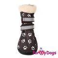 """ForMyDogs Сапожки для собак """"Лапки на резиновой подошве, цвет коричневый, размер №5"""