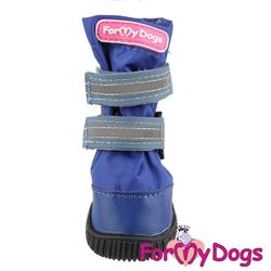 ForMyDogs Сапоги для крупных собак из водоотталкивающей двухслойной ткани с усиленной защитой от воды, цвет синий, размер №6