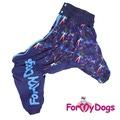 """ForMyDogs Комбинезон для больших собак """"Салют"""" фиолетовый, модель для мальчиков, размер С2, С3, D2"""