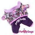 ForMyDogs Теплый комбинезон для маленьких собак сиреневый, размер 12, 14, модель для девочек