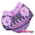 ForMyDogs Теплая курточка для мелких пород собак, сиреневая, размер 10