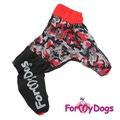 ForMyDogs Теплый комбинезон для больших собак из плотного водонепроницаемого полиэстера черный/красный, модель для девочки, размер С2