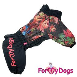 """ForMyDogs Комбинезон для больших собак """"Листья"""" на флисе черный, модель для мальчиков, размер С2, D3"""