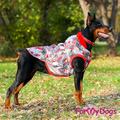 """ForMyDogs Куртка для крупных собак """"Перышки"""" серо/красная, размер С2, D1 модель для девочек"""
