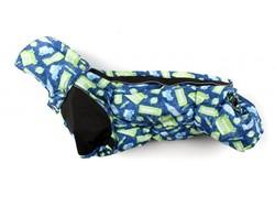 ZooPrestige Комбинезон на флисе для таксы, синий/Лондон, размер ТС1, спина 43-45см