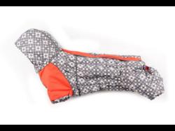 ZooPrestige Комбинезон на флисе для таксы, серый/оранжевый, размер ТМ2, спина 37-39см