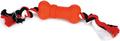 "Beeztees Игрушка для собак ""Sumo Mini Fit Bone"" Косточка на канате красная 4,5*4,5*11см"