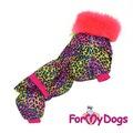 """ForMyDogs Теплый комбинезон для такс розовый """"ЛЕО"""" из плотного водоотталкивающего материала на меховой подкладке, размер ТС1, модель для девочек"""