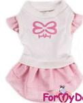 ForMyDogs Платье для собак цвет бело-розовый(клетка), размер 10