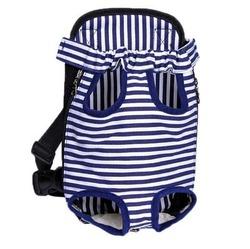 Al1 Рюкзак-переноска для маленьких животных синий в полоску, размер М, L