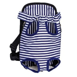 Al1 Рюкзак-переноска для маленьких животных синий в полоску, размер М