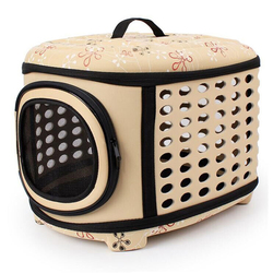 Al1 Складная сумка-переноска для собак и кошек до 8,0 кг, бежевая в цветочек L, размер 45х38х32см