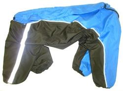 ZooPrestige Дождевик для крупных пород собак, черно/голубой, размер 8XL, спина 75см