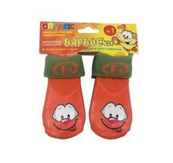 Барбоски Носки для собак для прогулки с высоким латексным покрытием, оранжевые с принтом