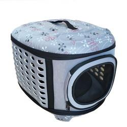 Al1 Складная сумка-переноска для собак и кошек до 8,0 кг, серая в цветочек L, размер 45х38х32см