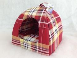 Бобровый дворик Домик лежак для кошек и собак шотландка красная