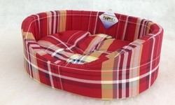 Бобровый дворик Лежак для собак и кошек овальный с бортиком, шотландка красная