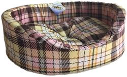 Бобровый дворик Лежак для собак и кошек овальный с бортиком, клетка розовая