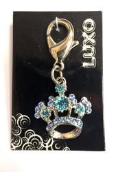 I.P.T.S. Подвеска-брелок Корона с кристаллами голубая 2,5см