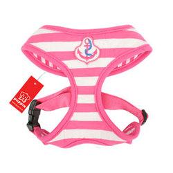 Puppia Шлейка-жилетка для собак розовая полоска Якорь, размер L