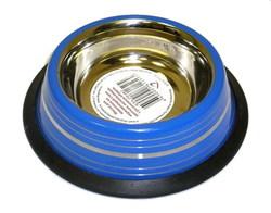 DOGMAN Миска металлическая №0 на резинке, синяя полоска, 0,3л/10,5см