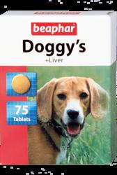 Beaphar Кормовая добавка Doggy's + Liver со вкусом печени для собак, 75таб