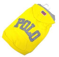 4 My Pets Толстовка для собак Поло, желтая, с капюшоном, размер XL