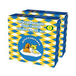 Пелигрин Пеленки для собак Доброзверики Classic 60х60см, 60шт.