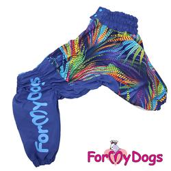 ForMyDogs Дождевик для больших пород собак синий, модель для мальчиков, размер D2
