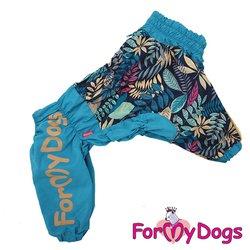 ForMyDogs Дождевик для больших пород собак голубой, модель для мальчиков, размер С3, D2