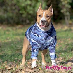 ForMyDogs Джемпер для собак крупных пород синий камуфляж, размер С1, С3
